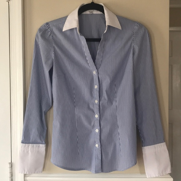 Express Tops - Express Design Studio Blue and White Top Sz XS
